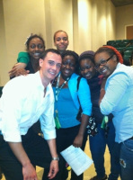 Pete with students