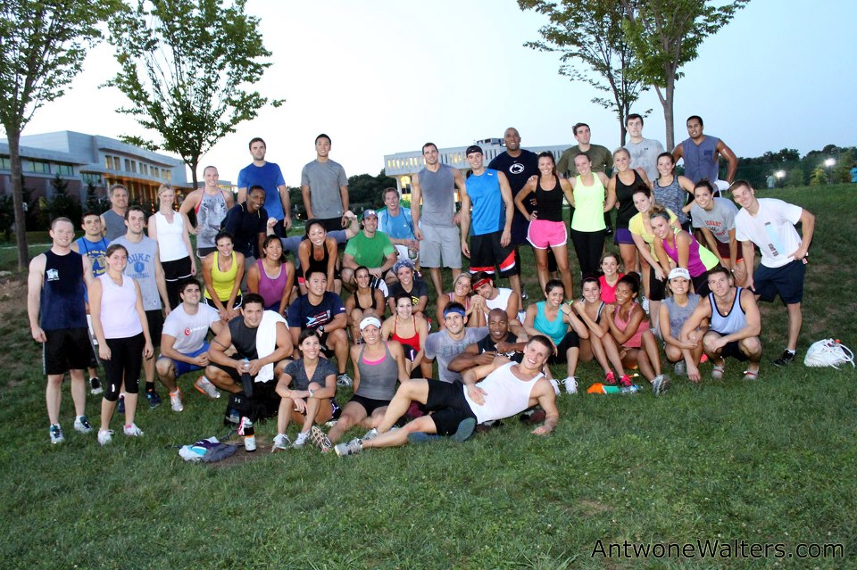 me with some members of my fitness boot camp (I'm the black shorts with red/white stripe)